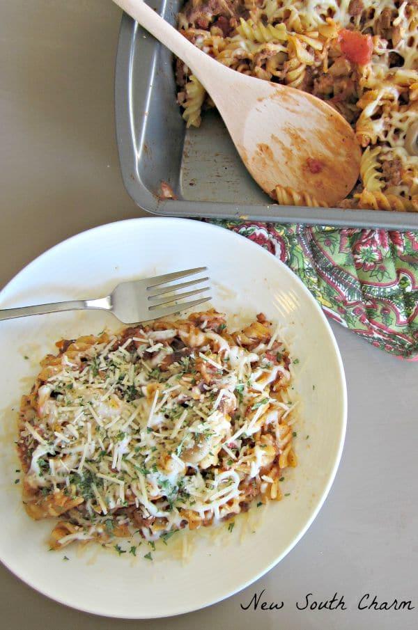 Baked Beef and Mushroom Rotini
