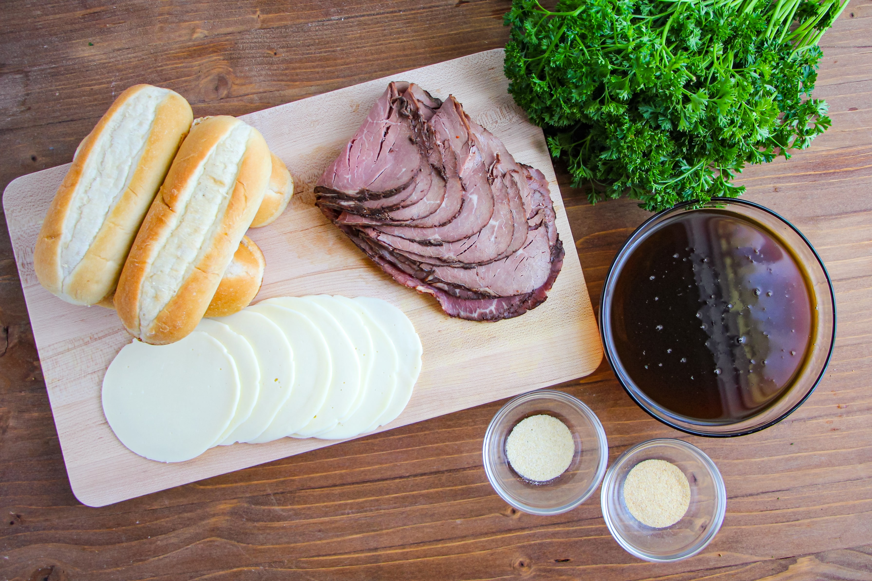 Ingredients needed for this recipe on a wooden cutting board.