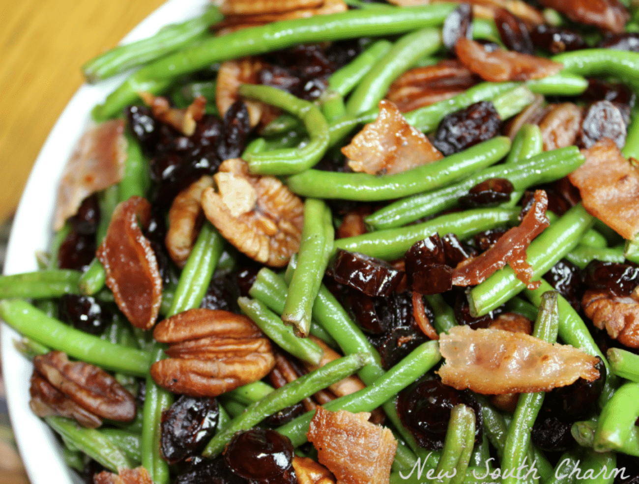 Bacon Cranberry and Pecan Green Beans - New South Charm
