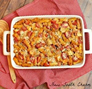 Chicken Caprese Pasta Casserole - Cover