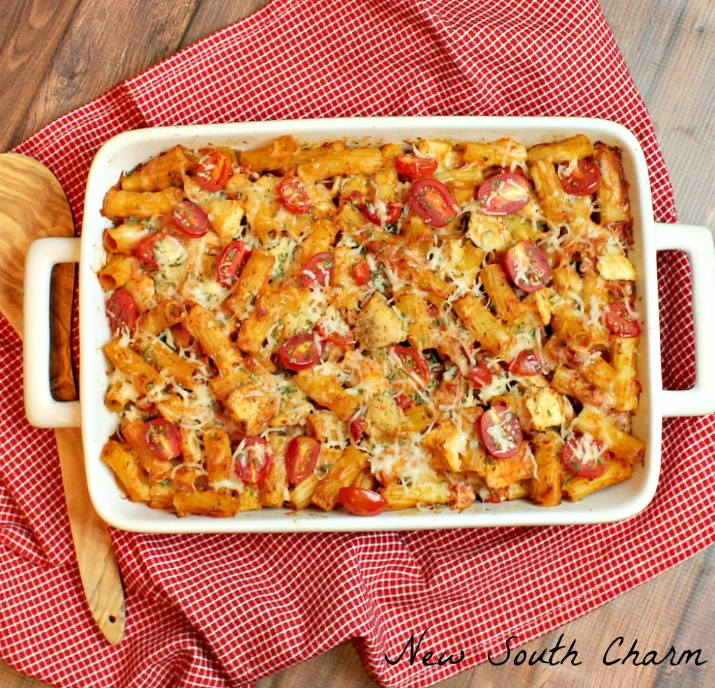 Chicken Caprese Pasta Casserole - New South Charm