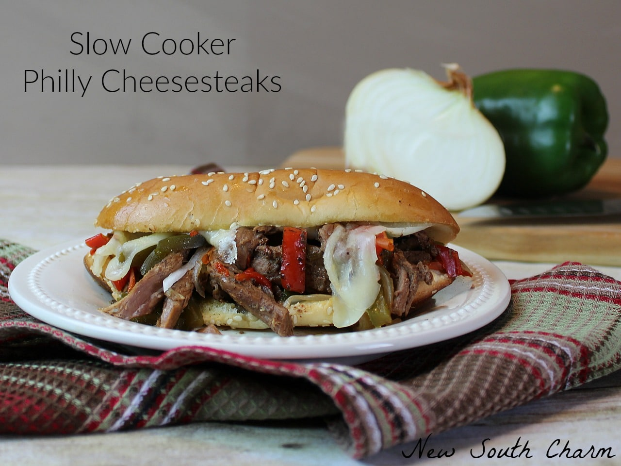 Slow Cooker Philly Cheesesteaks FB