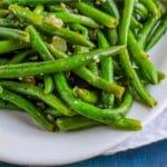 Skillet Green Beans on a white platter