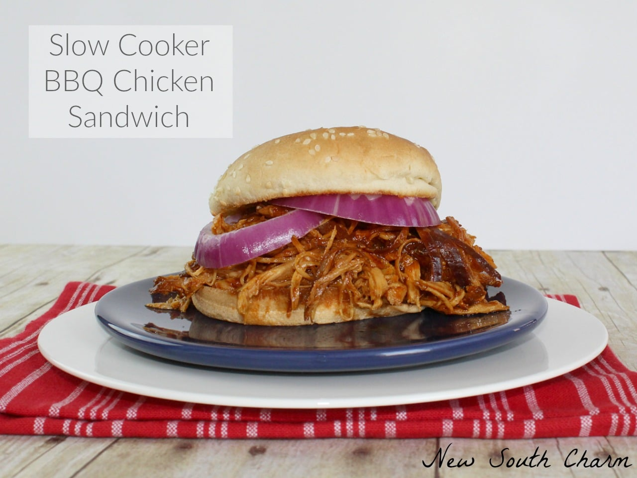 Slow Cooker BBQ Chicken Sandwich FB