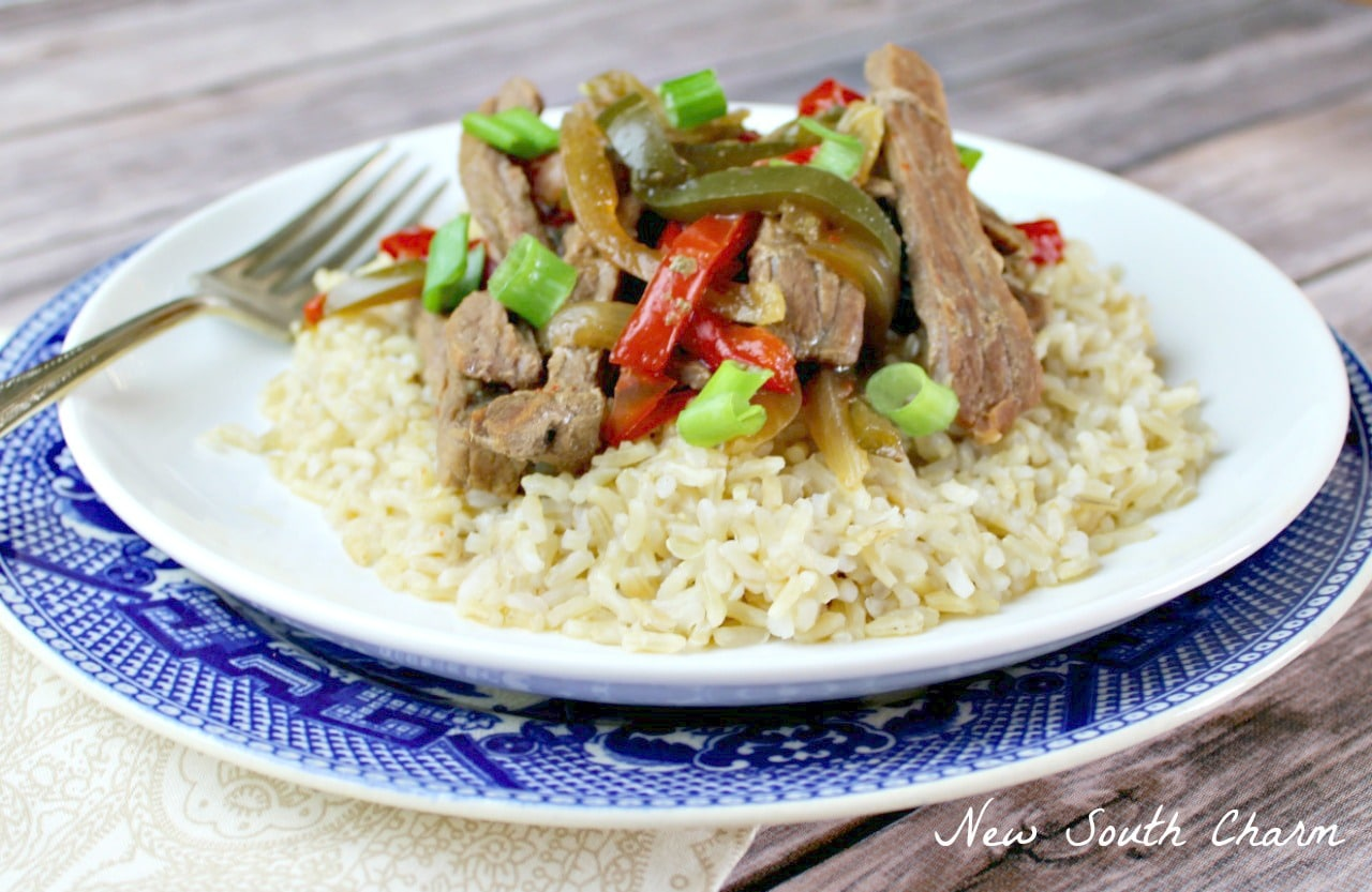 Slow Cooker Pepper Steak EASY and inexpensive to make. Just like the take out version but made at home. 6w