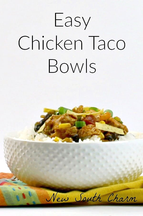 #Ad Easy Taco Bowls Easy Chicken Taco Bowls are fast, filling, and inexpensive. Perfect for a quick dinner on busy nights.
