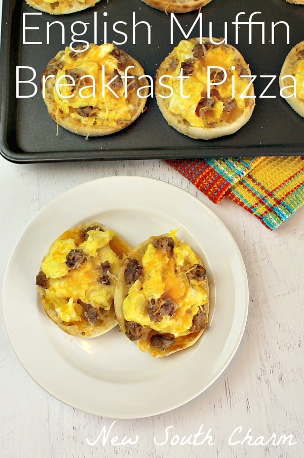 English Muffin Breakfast Pizzas only take a few minutes to prepare and you have a great breakfast for the week.  You can also  freeze these for months of hearty breakfasts.