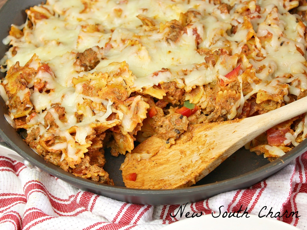Easy Skillet Lasagna takes 30 minutes and cooks in one skillet making dinner a snap.