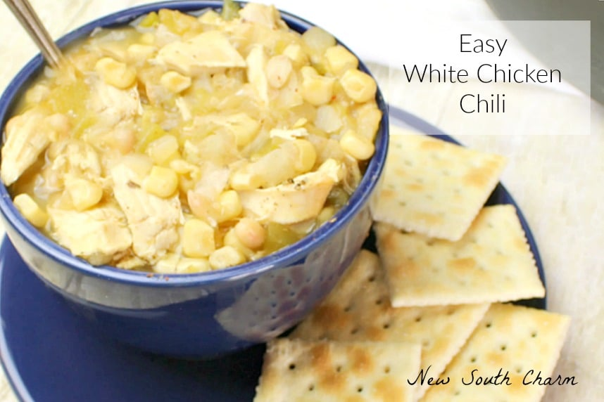 Easy White Chicken Chili is a quick flavorful dinner that you can make in about 30 minutes with simple ingredients.