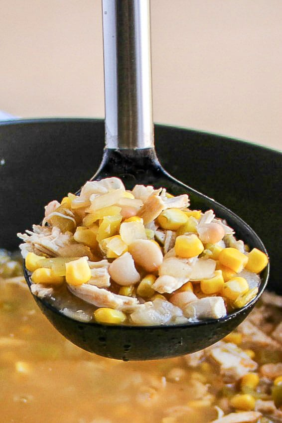 A ladle full of White Chicken Chili.