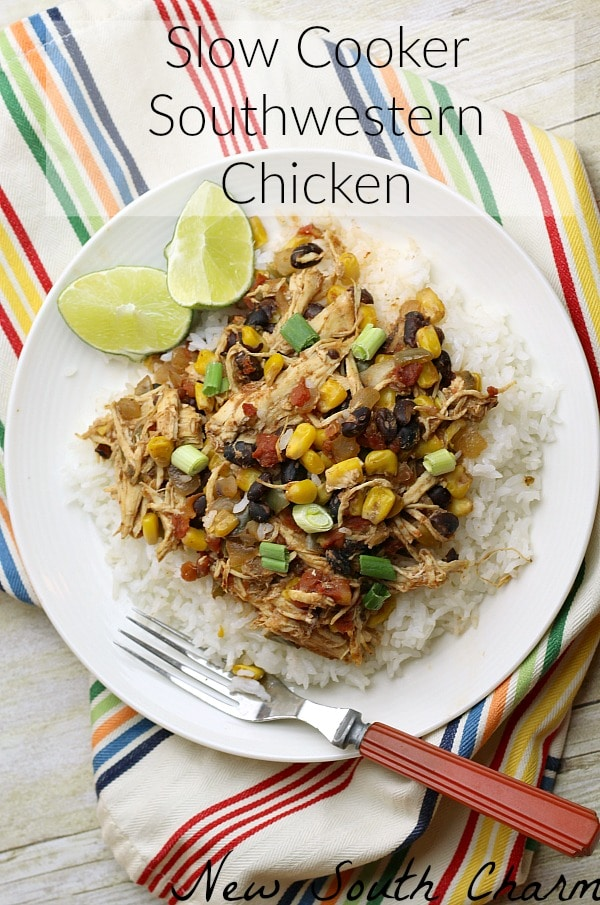 Slow Cooker Southwestern Chicken is an easy crock pot recipe that comes together in minutes and makes dinnertime a breeze.