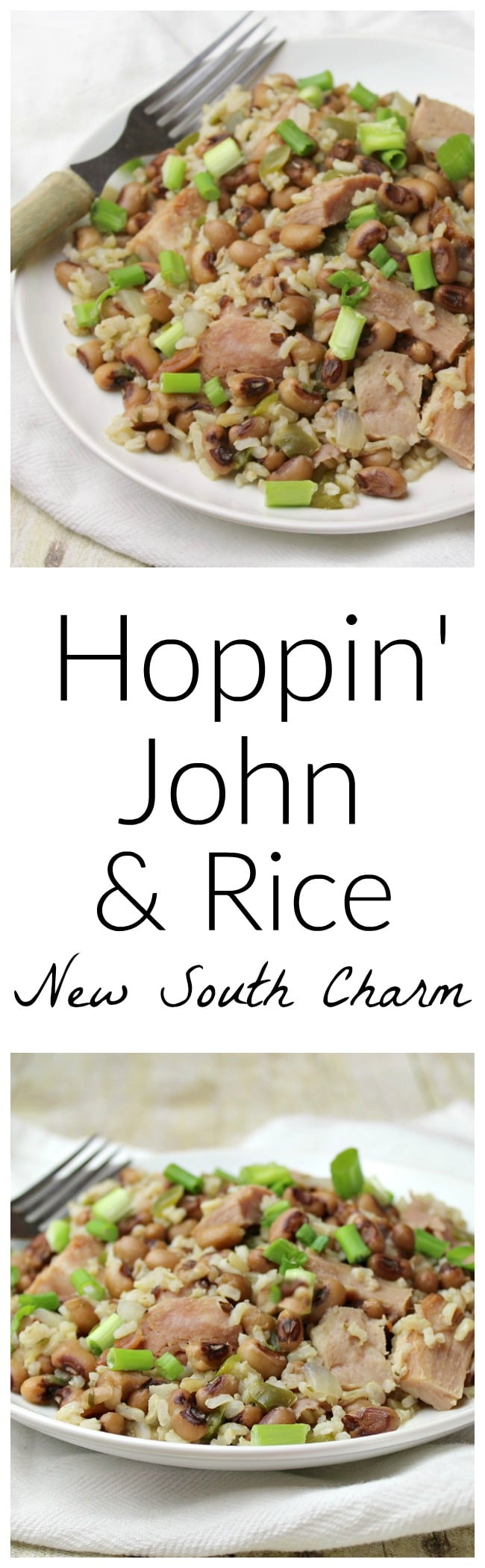 Hoppin' John and Rice is a traditional Southern dish with black eyed peas that is often served on New Year's Day.