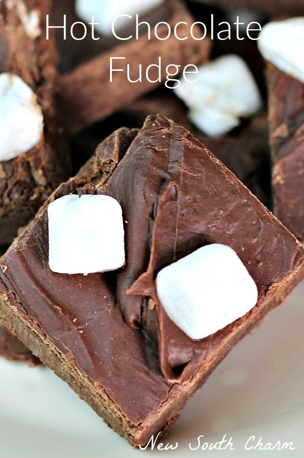 Hot Chocolate Fudge is made with only three ingredients in just minutes and is a fun snack or gift for Christmas.