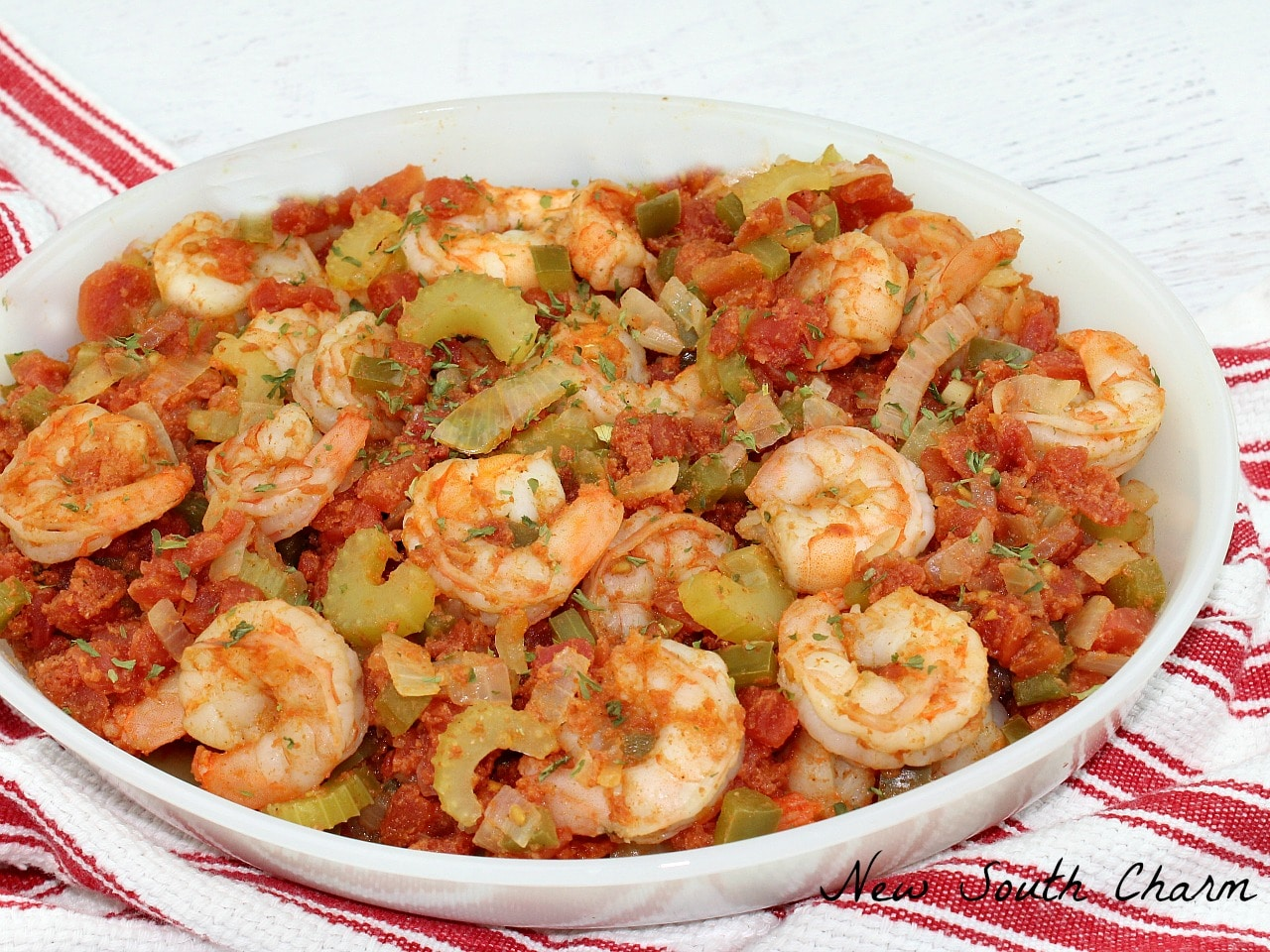 Shrimp Creole is a great dinner idea for any night of the week. This recipe can also be easily adapted for feeding a crowd.