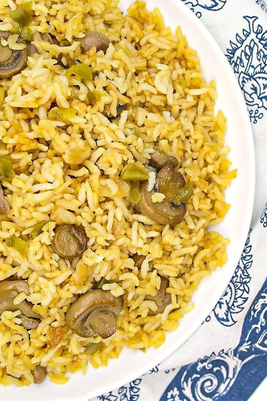 Mushroom Fried Rice on a while plate