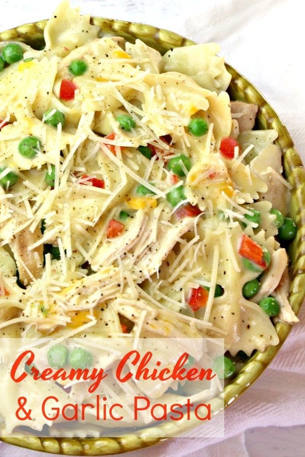 Creamy Chicken and Garlic Pasta is easy enough to make any night of the week. This creamy pasta isalways a crowdpleaser no matter the size of the crowd.