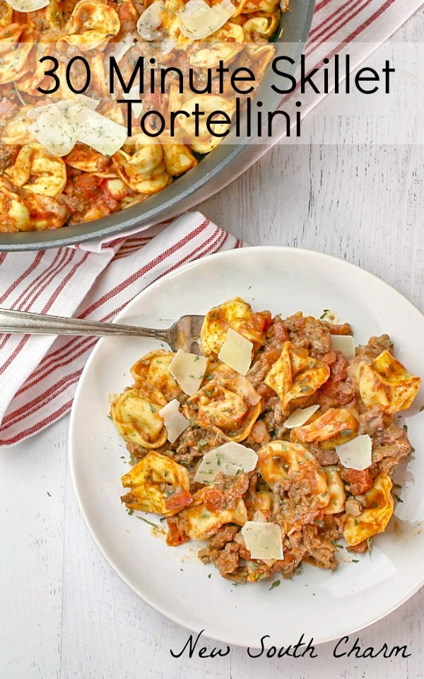 30 Minute Skillet Tortellini is an easy pasta recipe that features a savory meat sauce and tons of rich cheese tortellini!