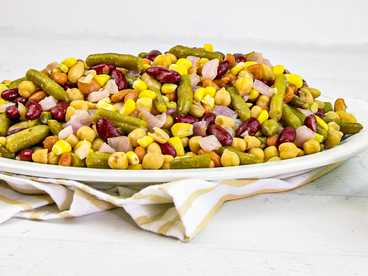 Five Bean Salad piled high on an oval platter