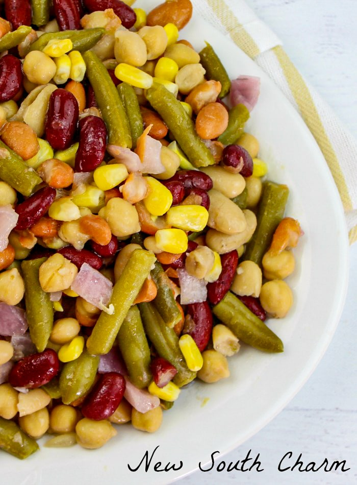 Five Bean Salad on a white platter