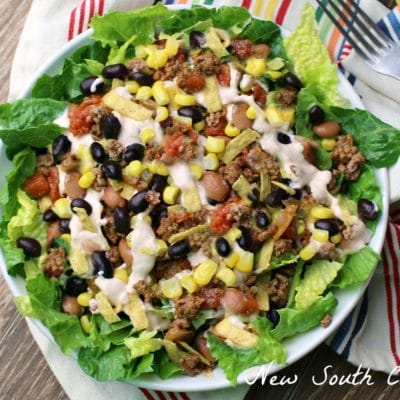 Loaded Taco Salad with Chipotle Lime Sauce
