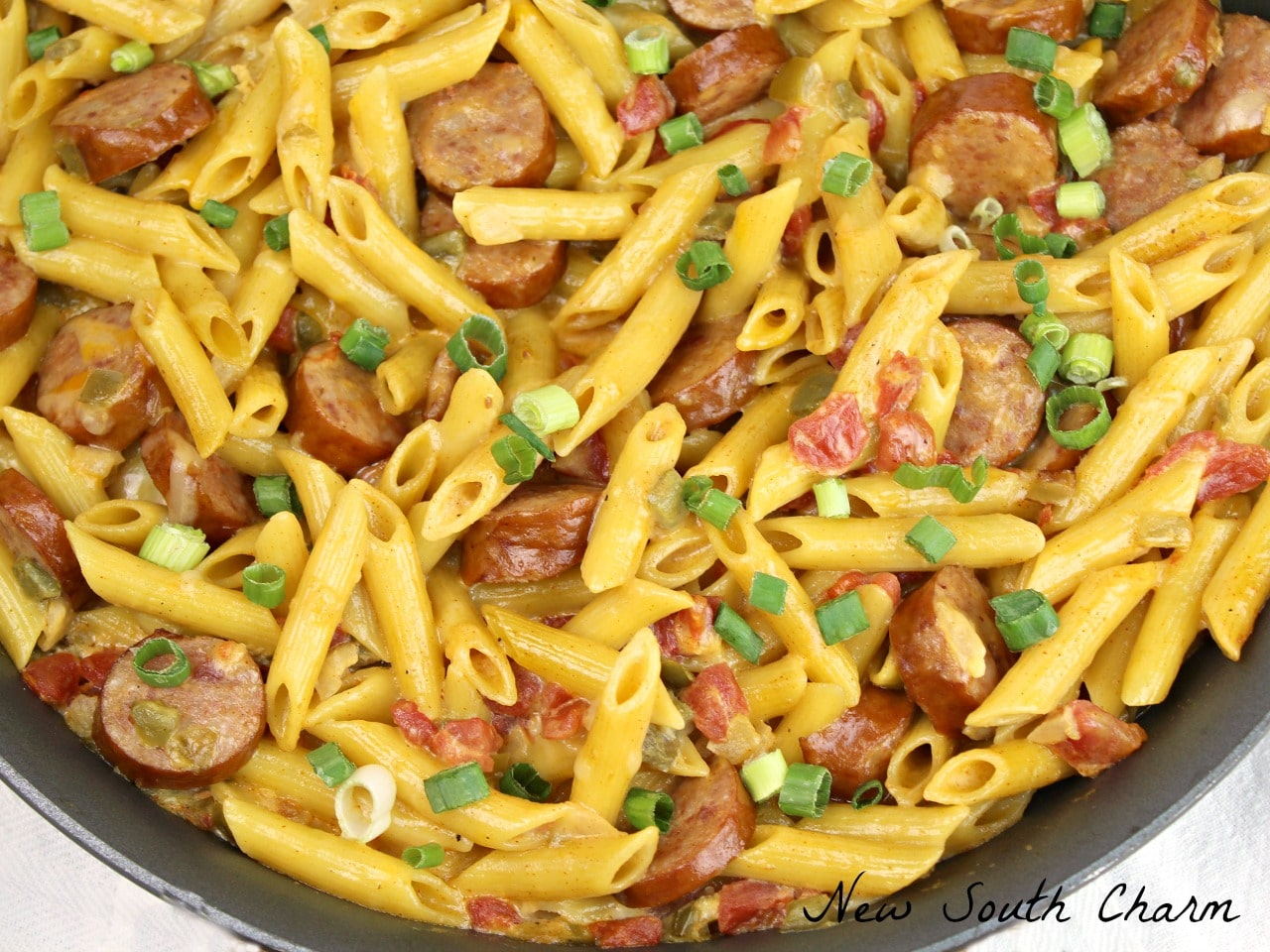 Spicy Sausage and Penne Pasta - New South Charm