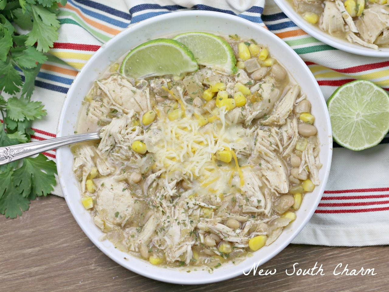 Slow Cooker Salsa Verde Chicken Chili - New South Charm