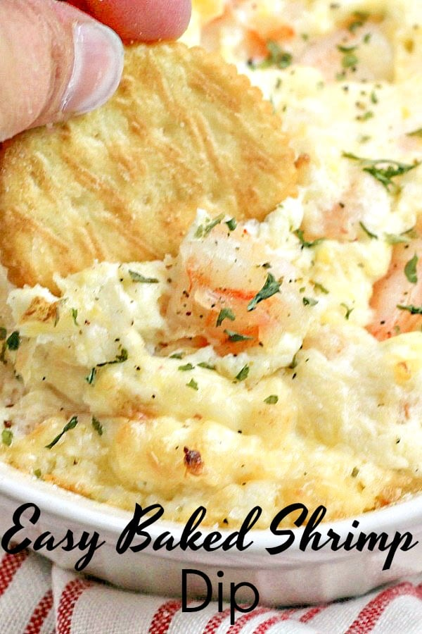 This recipe for Baked Shrimp Dip will make you the hero of the party. Made with savory shrimp and tons of gooey cheese this recipe is always a crown pleaser!