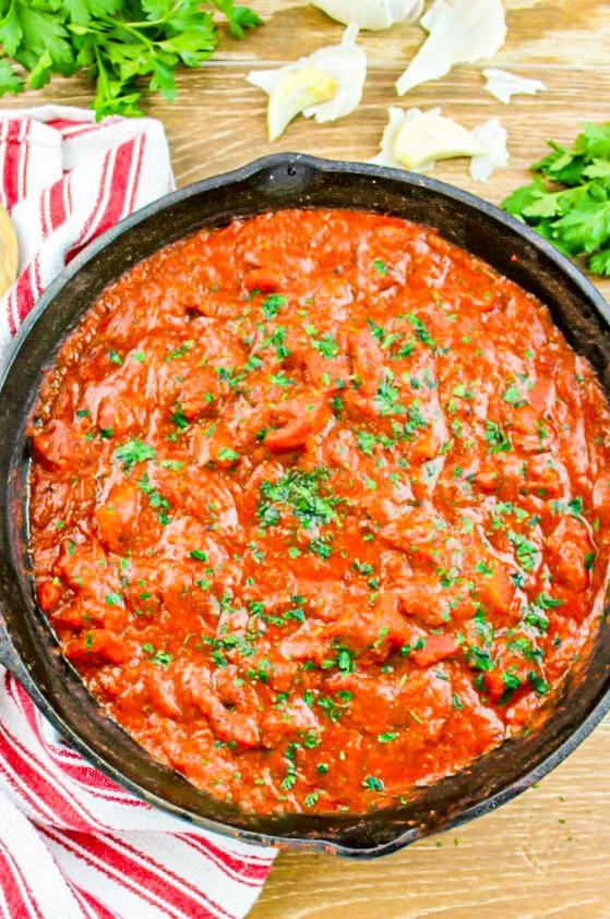 Marinara sauce in a skillet