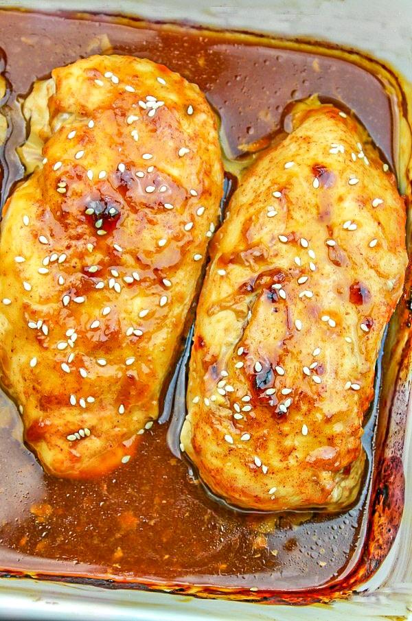Honey Garlic Chicken in a casserole dish.