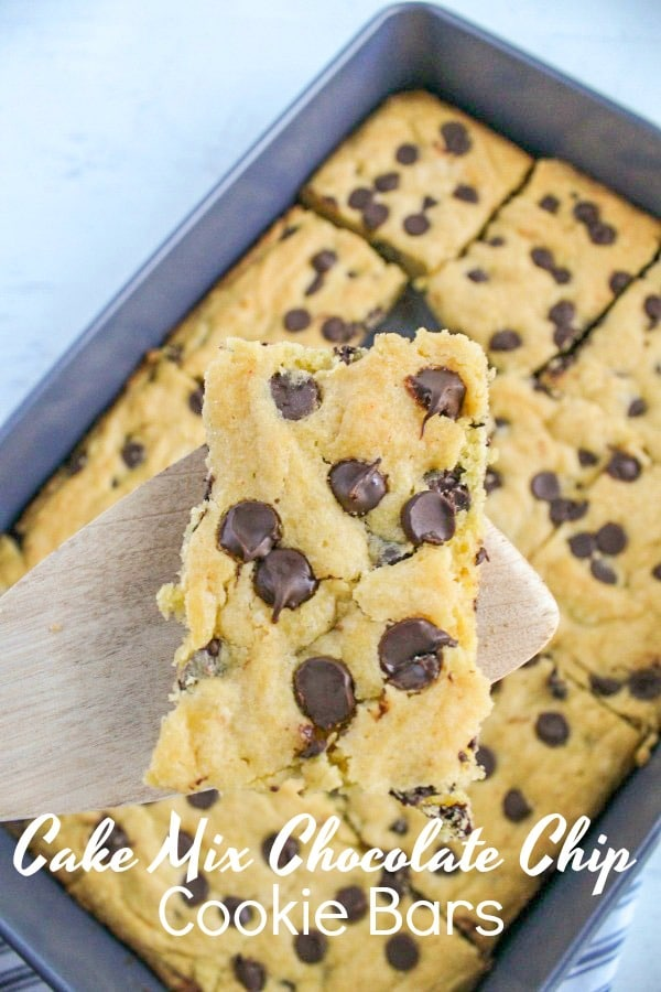 These Chocolate Chip Cookie Bars are super easy to make. In fact they are fool proof. How do I know? There's a secret. They are made from a boxed cake mix.