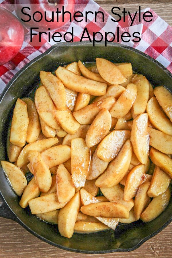Why are these Southern Style Fried Apples so good? Juicy apples cooked with brown sugar & cinnamon in a skillet until golden brown make the perfect dessert.