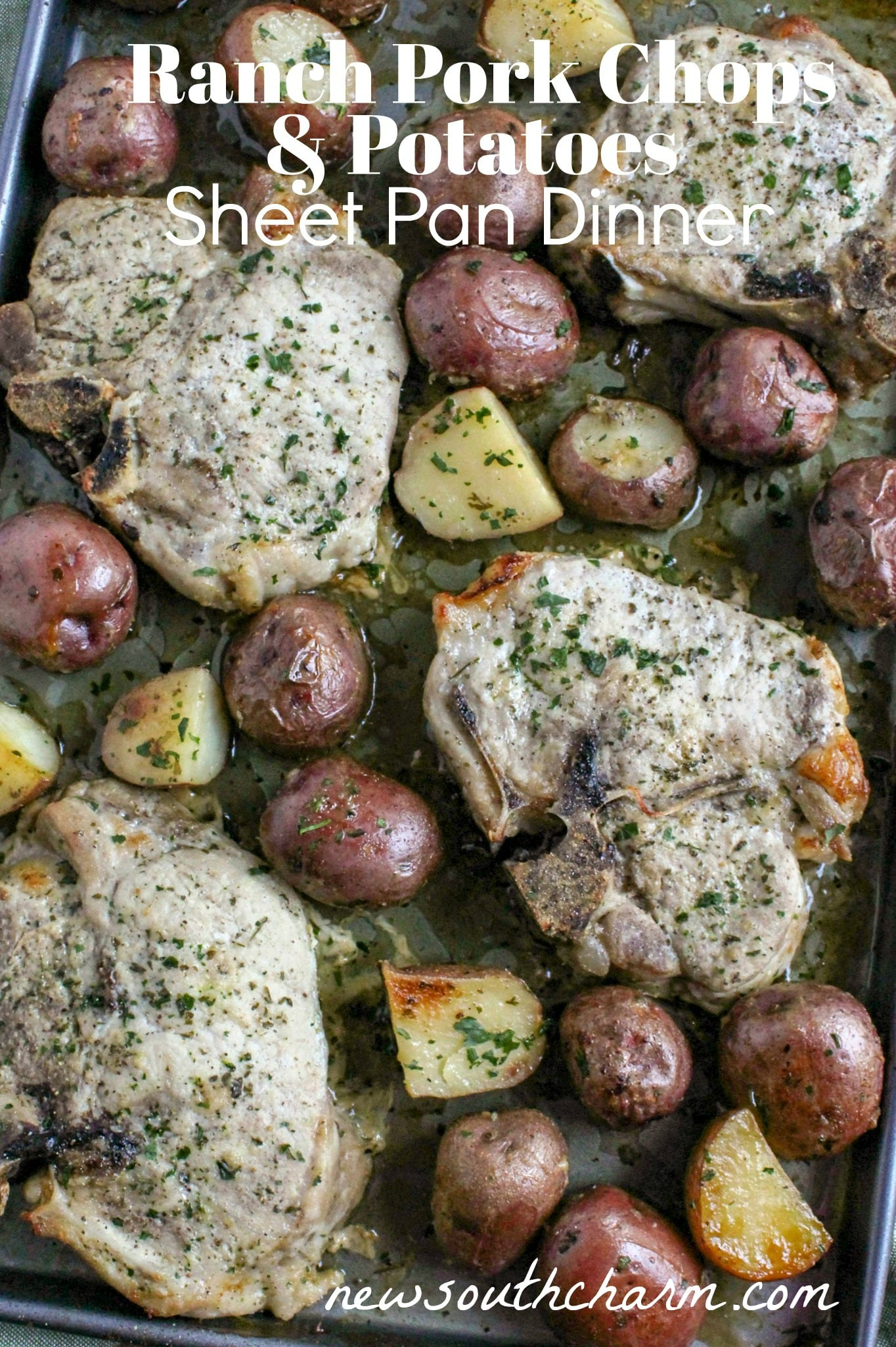 Ranch Pork Chops and Potatoes Sheet Pan Dinner is easy to make and a easy to clean up! A delicious family friendly dinner in just 30 minutes in one pan!