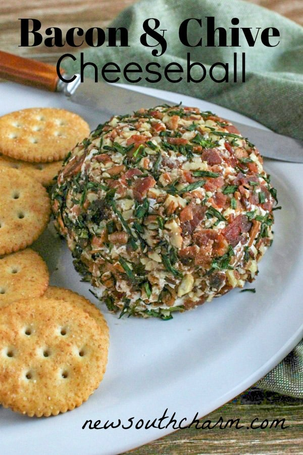 Bacon and Chive Cheeseball is a simple make ahead appetizer that is perfect for your next party or tailgate! Made with just FIVE ingredients this cream cheese cheeseball  is always a crowdpleaser.