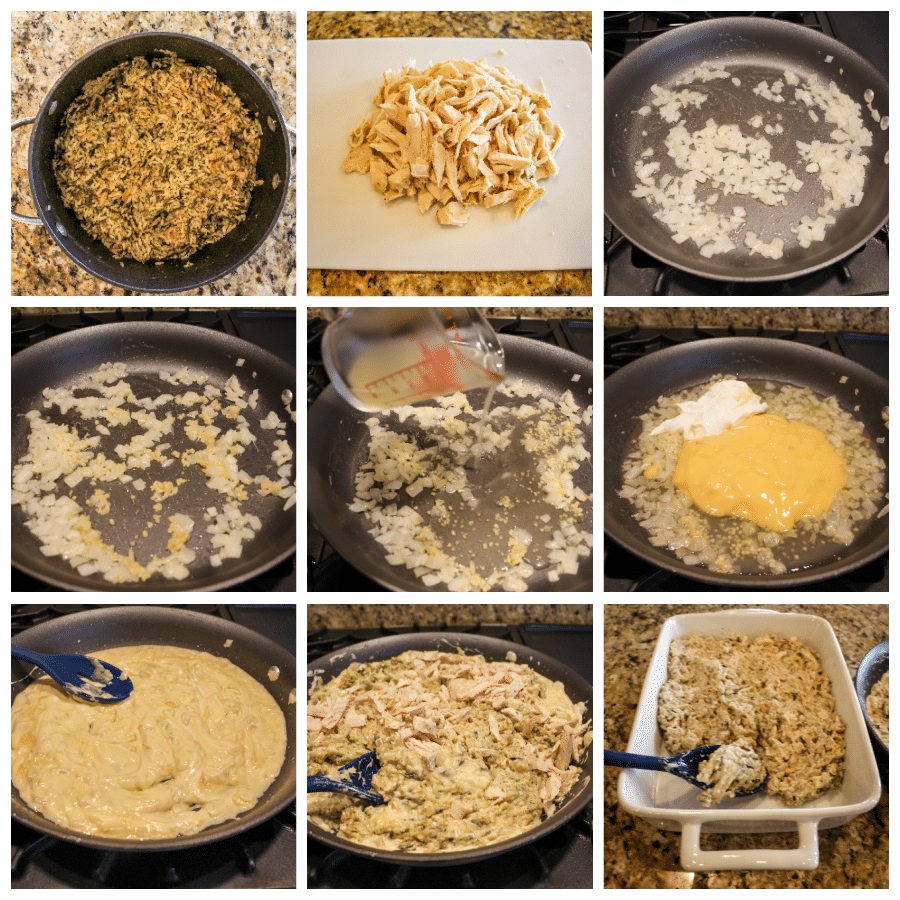 Collage of photos showing step by step directions for recipe.