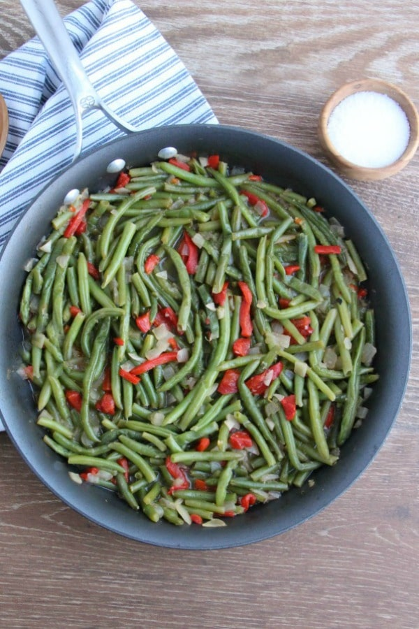 Green Beans with Roasted Red Peppers in skillet