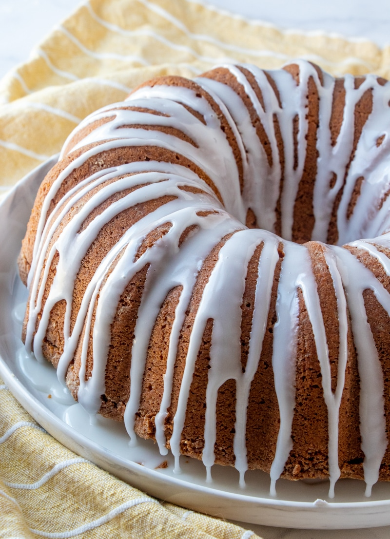 7-Up Bundt cake with lemon glaze on a cake plate