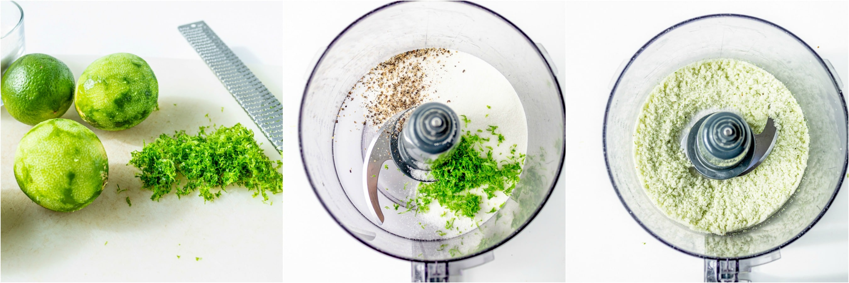 Lime zest salt and pepper in a food processor