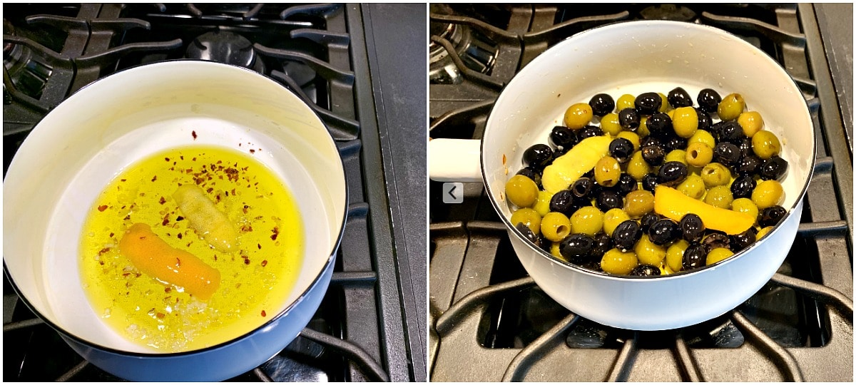 Olive oil mixture in a sauce pan tossed with olives