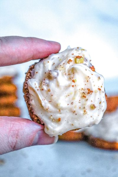Pumpkin Snickerdoodle Cookie with cream cheese icing