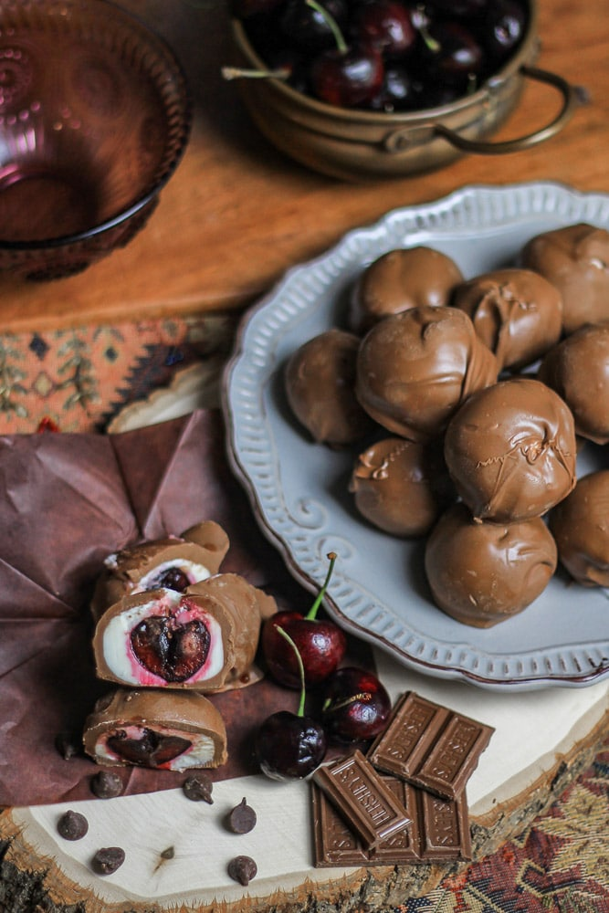 Homemade Cherry Cordials on a plate