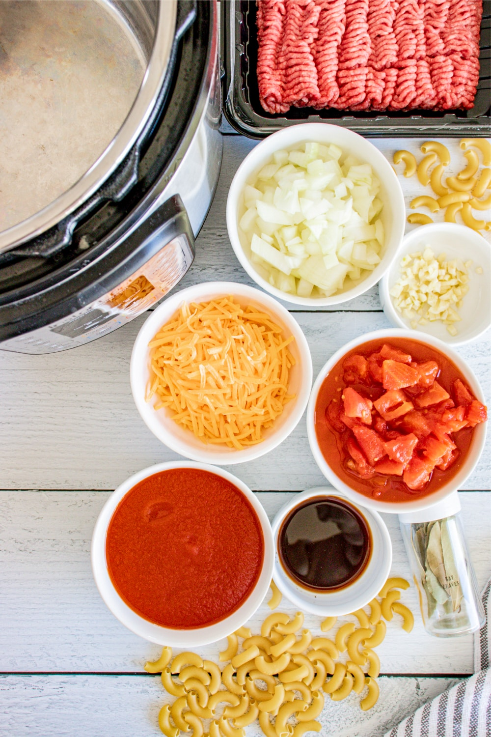 remeasured ingredients for instant pot American Goulash