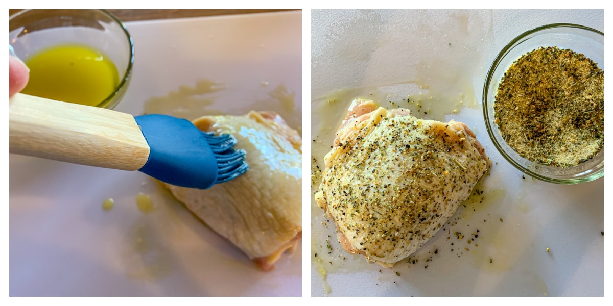 step by step for seasoning chicken thighs
