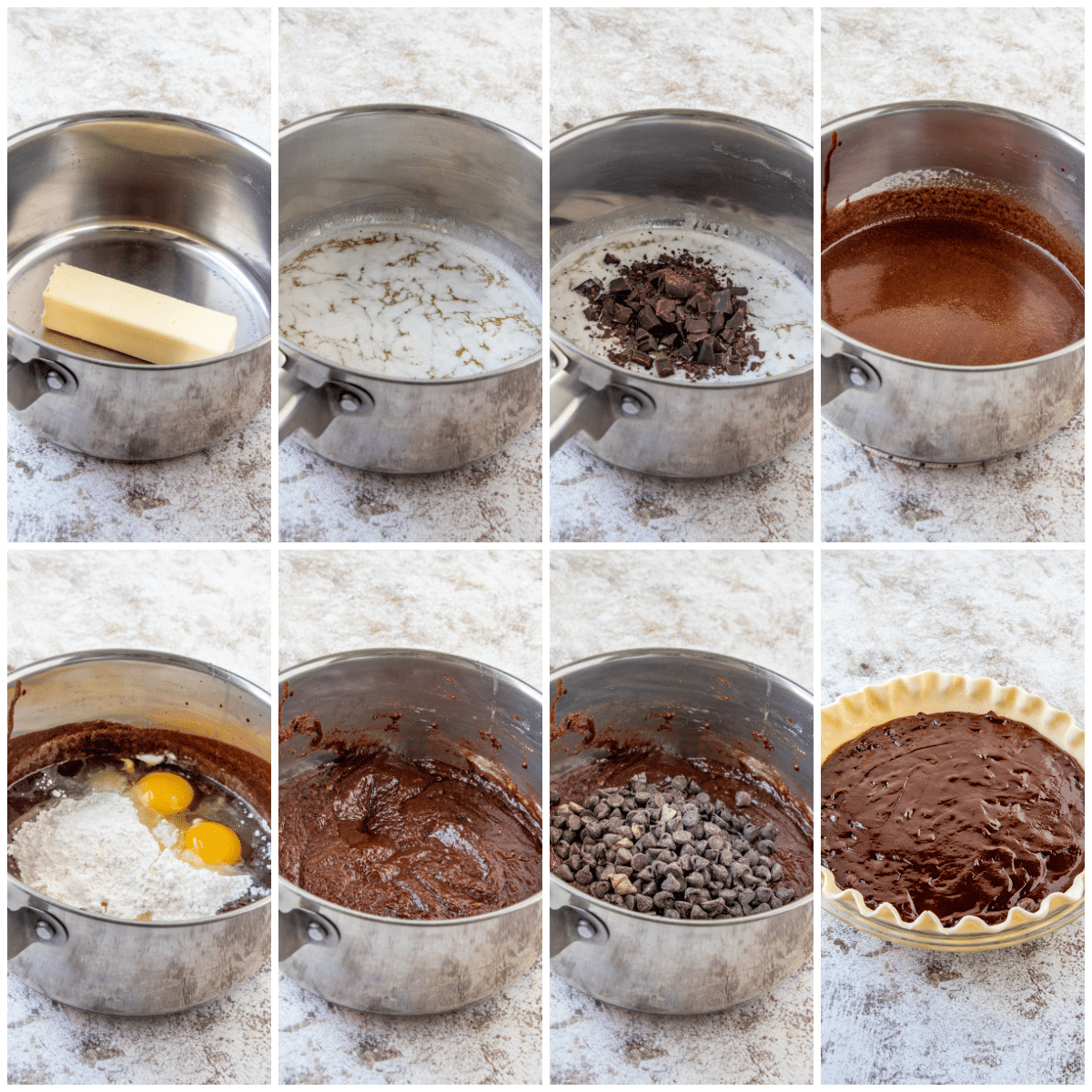 Images showing the steps needed to make Brownie Pie