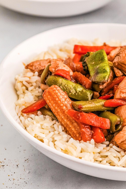 Stir-fry veggies in a white bowl.
