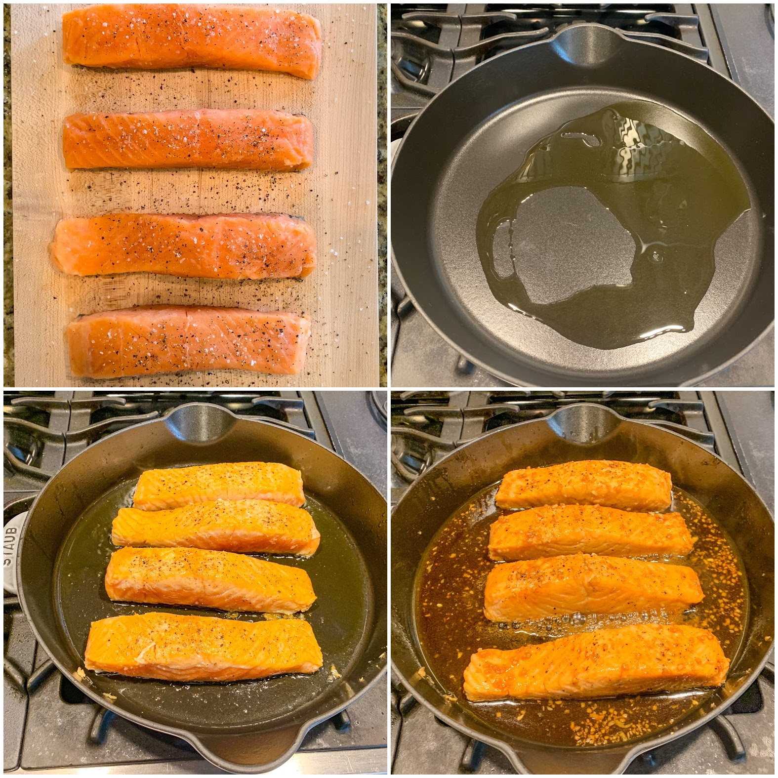 Image shows steps needed to cook salmon. Four salmon fillets in a cast iron skillet.