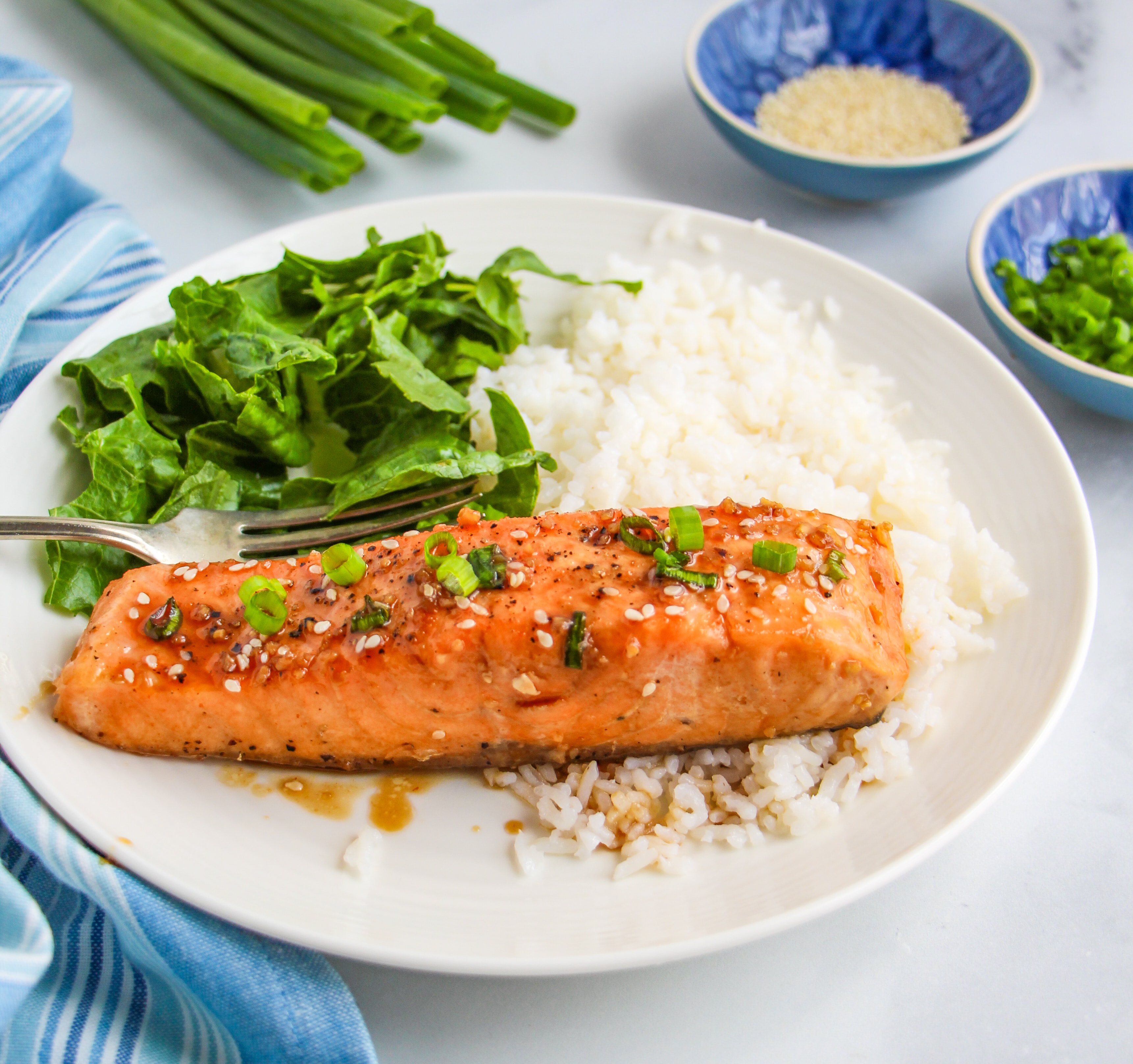 A single piece of prepared salmon on a bed or rice with a green salad on a white dish.