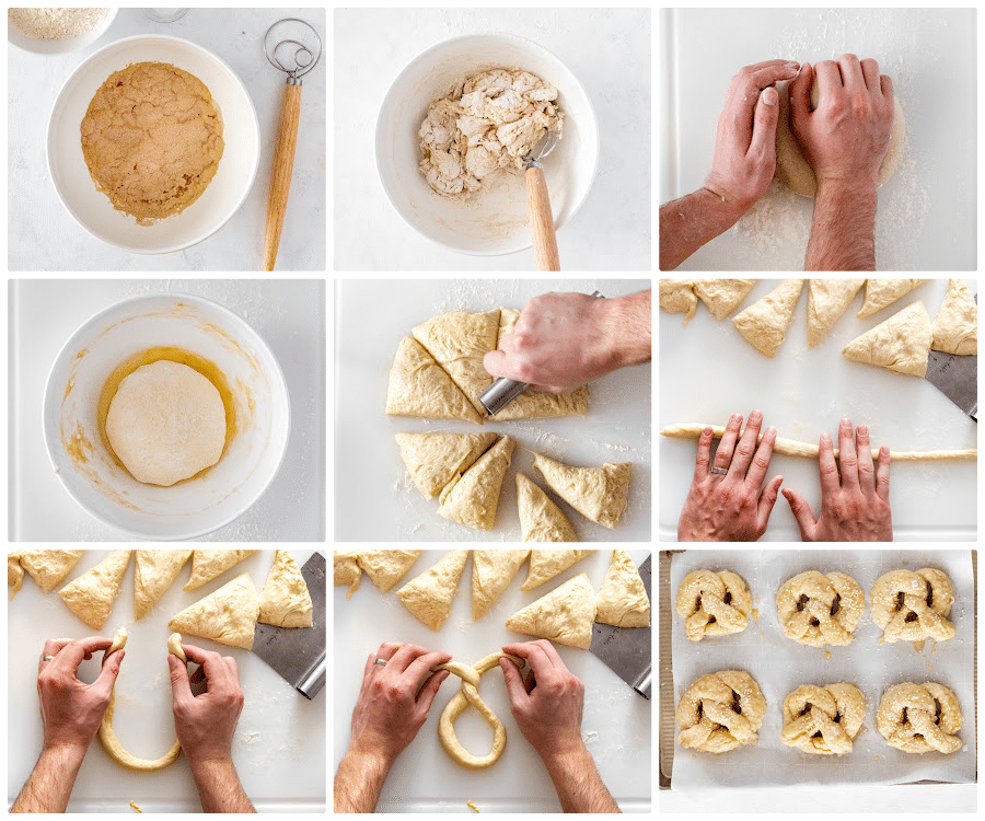 Photos showing step by step directions for making Soft Beer Pretzels.
