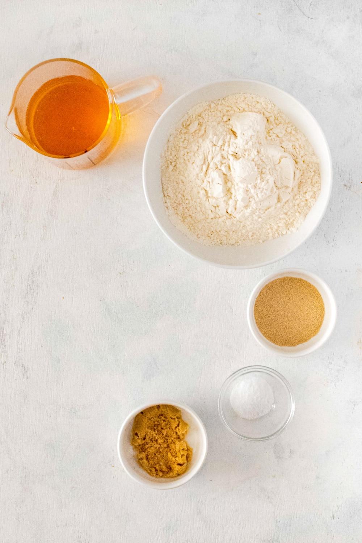 Measured ingredents needed for making pretzels.