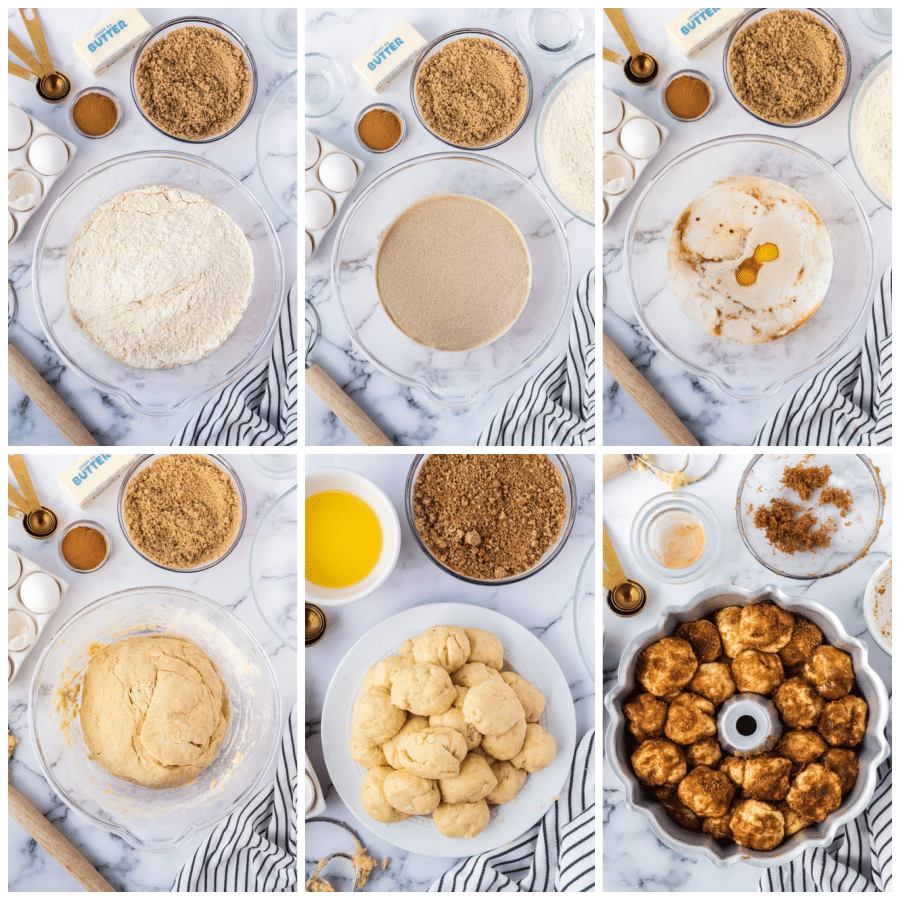 Collage of photos showing step by step directions for making this recipe.